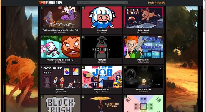 Newsgrounds上的新作都已经是HTML5游戏